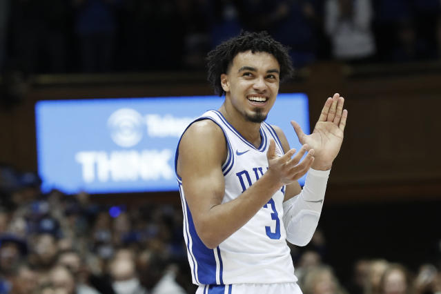 FILE - In this March 7, 2020, file photo, Duke guard Tre Jones (3) reacts during the second half of an NCAA college basketball game against North Carolina in Durham, N.C. Jones said Saturday, March 21, 2020, that he will enter the NBA draft. The point guard was chosen for named to the third team of The Associated Press All-America team on Friday. (AP Photo/Gerry Broome, File)