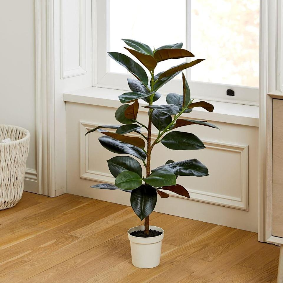 <p>Place this <span>Faux Potted Rubber Tree</span> ($130) by your living room window.</p>