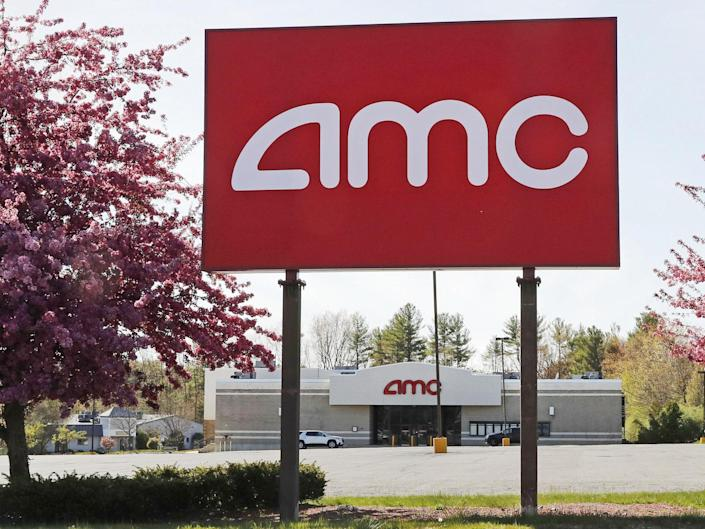 A AMC sign at a nearly empty parking lot for the theatre: (2020 The Associated Press)