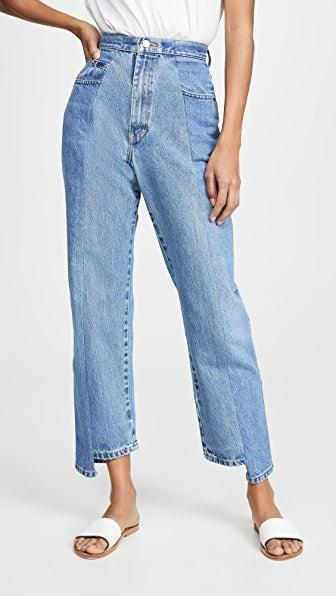 """<h3><a href=""""https://elvdenim.com/"""" rel=""""nofollow noopener"""" target=""""_blank"""" data-ylk=""""slk:ELV Denim"""" class=""""link rapid-noclick-resp"""">ELV Denim</a></h3><br>One way to shop denim sustainably is to find a brand that repurposes. London-based ELV Denim (short for East London Vintage, and a nod to where the dungarees are manufactured) is on the pricey side, but we swoon over the brand's tonal, re-worked styles. Isn't the investment worthwhile if this is the only pair of jeans you wear for the rest of the summer?<br><br><strong>E.L.V. Denim</strong> The Twin Boyfriend Jeans, $, available at <a href=""""https://go.skimresources.com/?id=30283X879131&url=https%3A%2F%2Fwww.shopbop.com%2Ftwin-boyfriend-jean-elv-denim%2Fvp%2Fv%3D1%2F1569742050.htm%3FfolderID%3D59800"""" rel=""""nofollow noopener"""" target=""""_blank"""" data-ylk=""""slk:Shopbop"""" class=""""link rapid-noclick-resp"""">Shopbop</a>"""