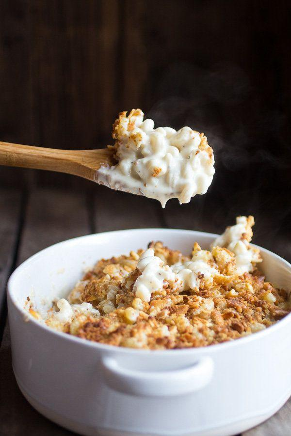 """<strong>Get the <a href=""""http://www.halfbakedharvest.com/creamy-brie-four-cheese-mac-cheese-buttery-ritz-crackers/"""" target=""""_blank"""">Creamy Four Cheese Brie and Buttery Ritz Cracker Mac and Cheese recipe</a> from Half Baked Harvest</strong>"""