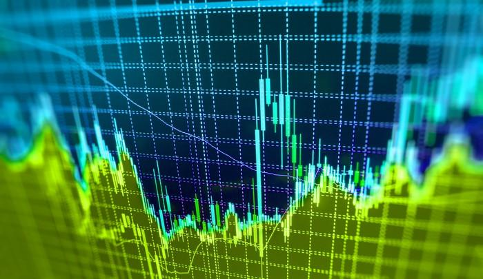Blue and green stock chart going up