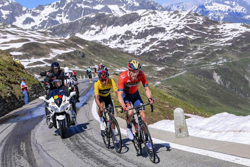 Rohan Dennis leads future Team Ineos teammate Egan Bernal on stage 9 of the 2019 Tour de Suisse, where Dennis would finish second overall