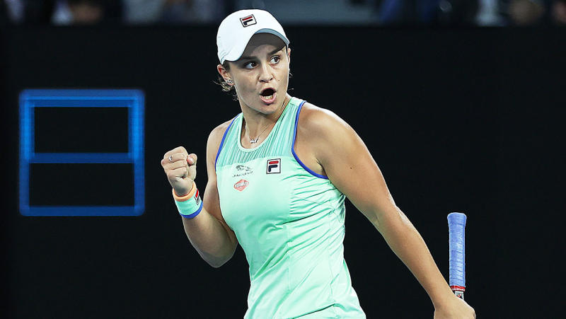 Ashleigh Barty celebrates after winning a point during her Women's Singles fourth round match against Alison Riske at the Australian Open. (Photo by Clive Brunskill/Getty Images)