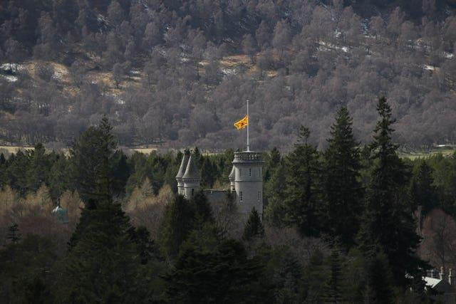 The Lion rampant flies at half mast at Balmoral Castle in Royal Deeside, Aberdeenshire, Scotland (Jane Barlow/PA)