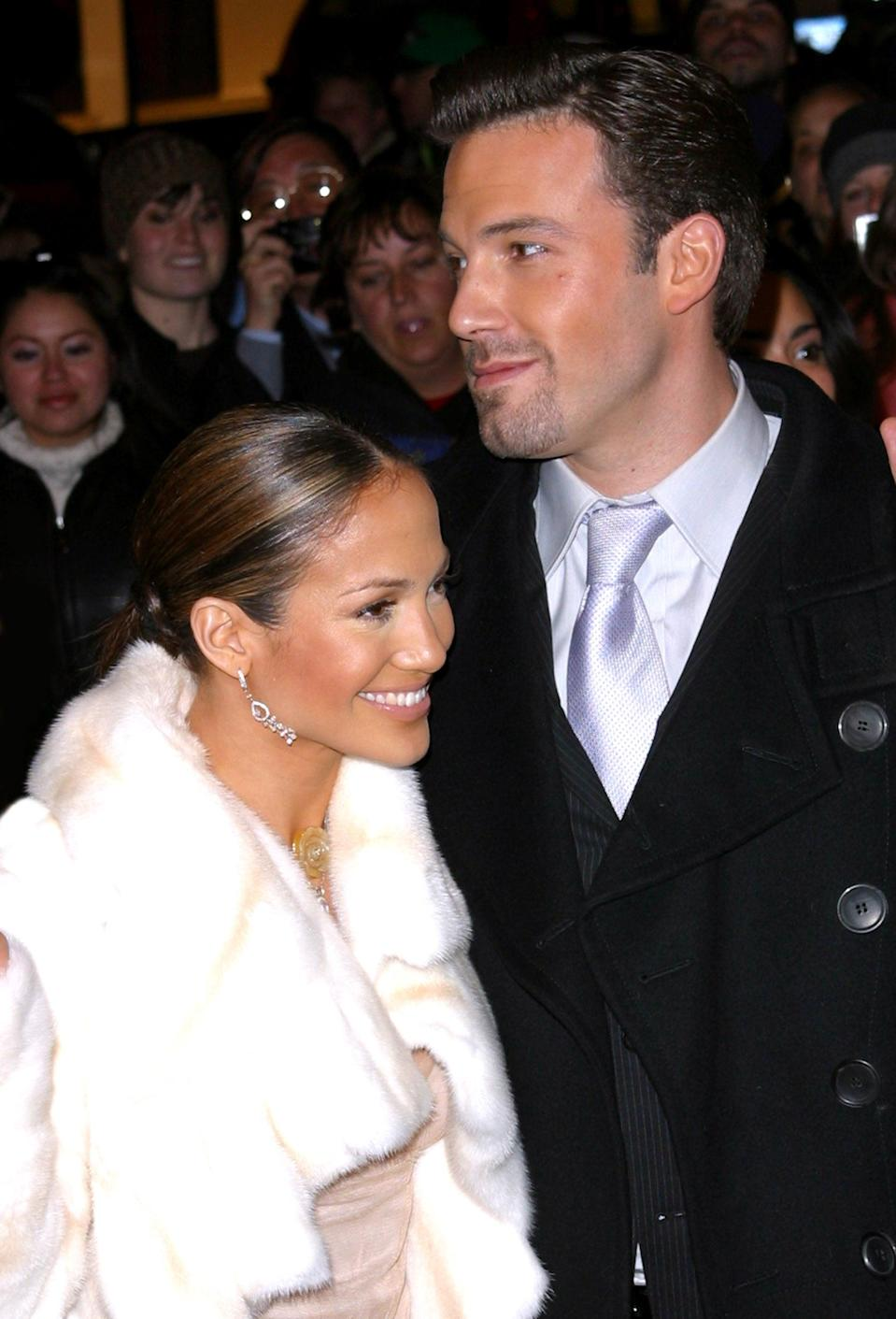 <p>Jen and Ben looked picture-perfect on the red carpet in December 2002. </p>