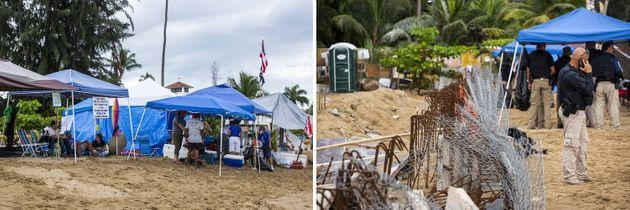 Left: The encampment in front of the Playa y Sol complex. Right: Police guard the construction site, staying overnight and at times with a heavy presence. (Photo: Erika P. Rodriguez for HuffPost)