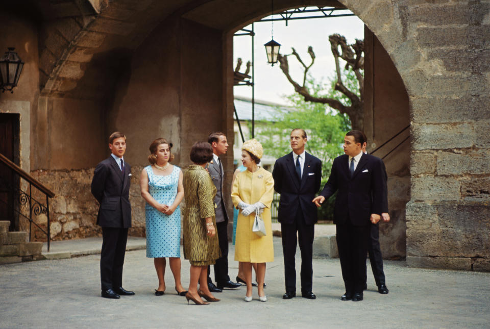 (Original Caption) Queen Elizabeth and Prince Philip visited the Langenburg Castle may 24th during their trip to West Germany. Members of the party that toured the castle are from left to right: Prince Rupprecht; Princess Beatrix Zu Hohenlohe-Langenburg; Princess Margarita, sister to Prince Philip; Prince Albrecht; Queen Elizabeth; Prince Philip; and Prince Kraft Zu Hohenlohe-Langenburg.