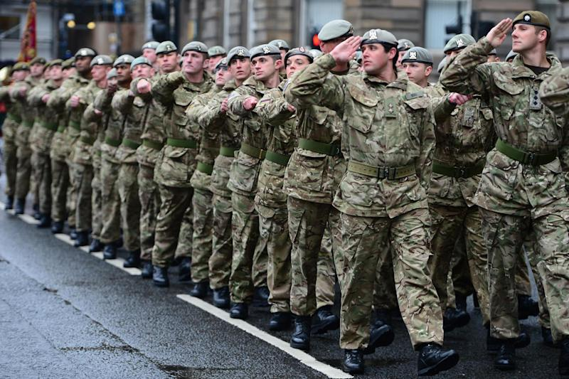 A homecoming parade for British Army troops in Glasgow: Getty Images