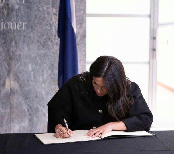 PHOTO: Britain's Meghan, Duchess of Sussex visits the New Zealand High Commission to sign a book of condolence on behalf of the Royal Family, in London, March 19, 2019. (Ian Vogler/Pool via Reuters)