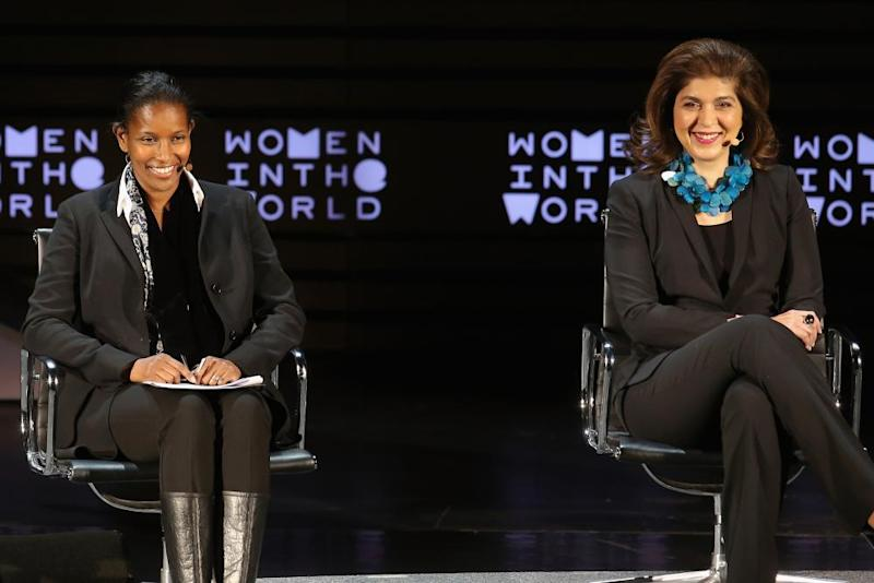 Ayaan Hirsi Ali and Farah Pandith at the Women In The World Summit in New York in 2016.