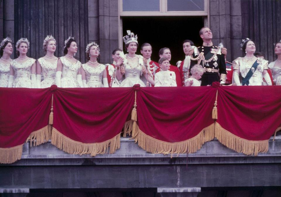 <p>Elizabeth is crowned Queen and the coronation ceremony is held at Westminster Abbey. The ceremony was the first internationally televised coronation, and Philip is shown bowing down to his wife as per tradition.</p>