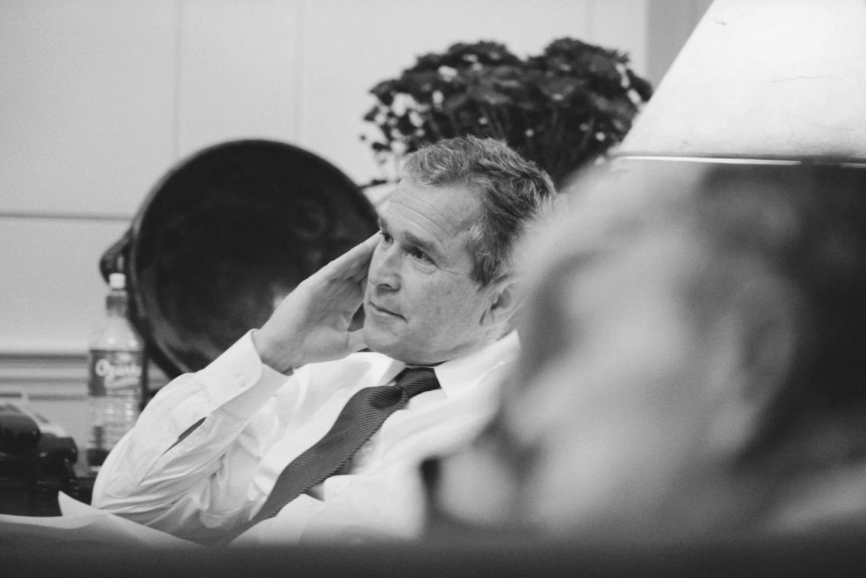 Presidential candidate George W. Bush awaits the poll results at the Governor's Mansion in Austin, Texas, on Election Day 2000. (Photo: Brooks Kraft LLC/Sygma via Getty Images)