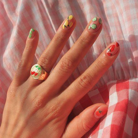 "<p>I personally could not paint itty bitty kiwis, strawberries and cucumbers on my nails. BUT! My very talented nail artist could, and once I get my second shot, I'm bringing this inspo image to her ASAP.</p><p><a href=""https://www.instagram.com/p/CNH1Ievs4Bm/"" rel=""nofollow noopener"" target=""_blank"" data-ylk=""slk:See the original post on Instagram"" class=""link rapid-noclick-resp"">See the original post on Instagram</a></p>"
