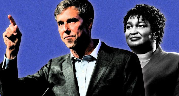 Beto O'Rourke and Stacey Abrams. (Photo-illustration: Yahoo News, photos: AP)