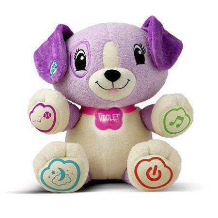 """<p><strong>LeapFrog</strong></p><p>walmart.com</p><p><strong>$14.84</strong></p><p><a href=""""https://go.redirectingat.com?id=74968X1596630&url=https%3A%2F%2Fwww.walmart.com%2Fip%2F12080258&sref=https%3A%2F%2Fwww.goodhousekeeping.com%2Fchildrens-products%2Ftoy-reviews%2Fg5152%2Fbest-toys-for-one-year-olds%2F"""" rel=""""nofollow noopener"""" target=""""_blank"""" data-ylk=""""slk:Shop Now"""" class=""""link rapid-noclick-resp"""">Shop Now</a></p><p>Available in purple or green, this snuggly pal can actually learn your child's name through an accompanying app. Once they become buddies, the pup can <strong>sing lullabies, count, and teach colors</strong>. This toy is good for kids ages 6 months and up.</p>"""