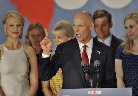 Republican Florida Governor Scott celebrates his re-election during a U.S. midterm elections night party with supporters in Bonita Springs