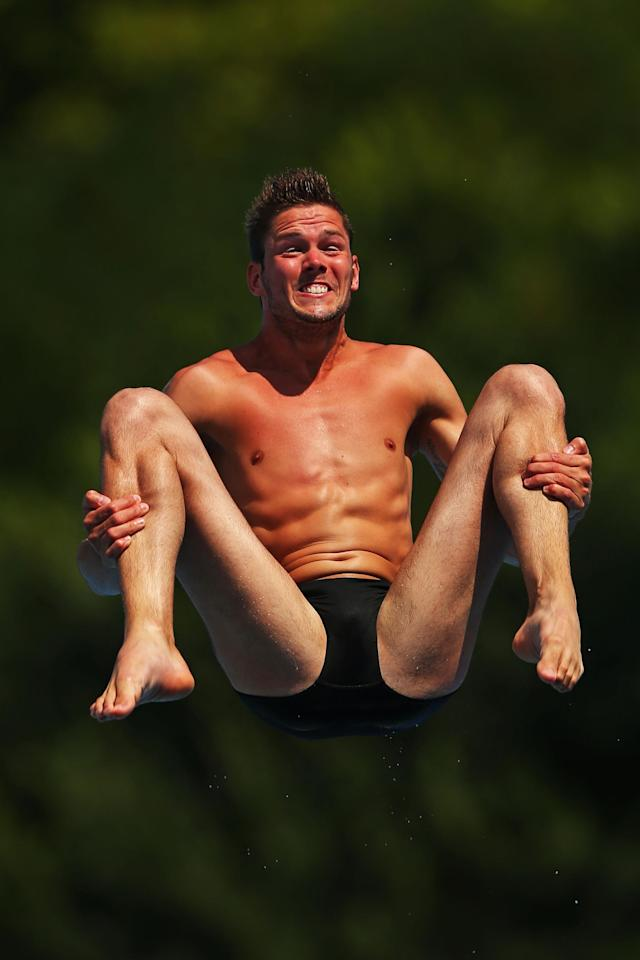 BARCELONA, SPAIN - JULY 20: Yorick De Bruijn of the Netherlands competes in the Men's 1m Springboard Diving preliminary round on day one of the 15th FINA World Championships at Piscina Municipal de Montjuic on July 20, 2013 in Barcelona, Spain. (Photo by Clive Rose/Getty Images)