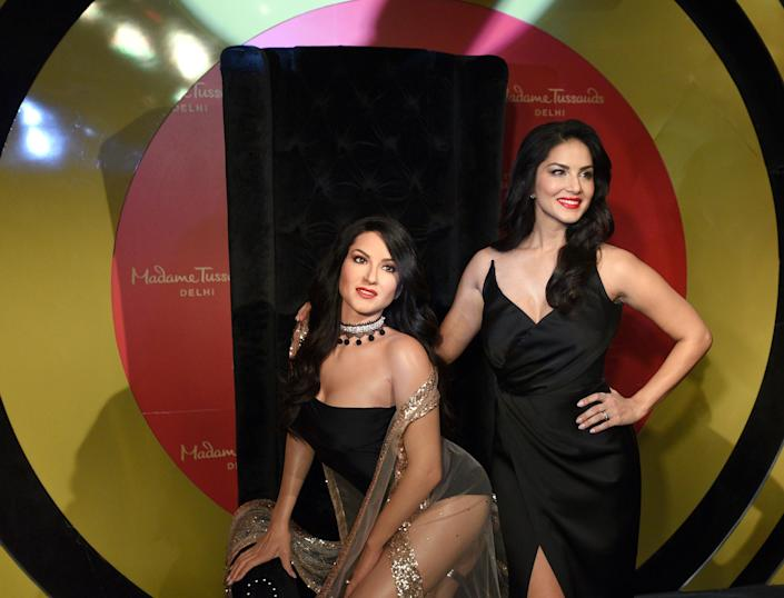 Sunny Leone at the launch of her wax figure at the Madame Tussauds museum, at Connaught Place, on September 18, 2018 in New Delhi, India. (Photo by Sonu Mehta/Hindustan Times via Getty Images)