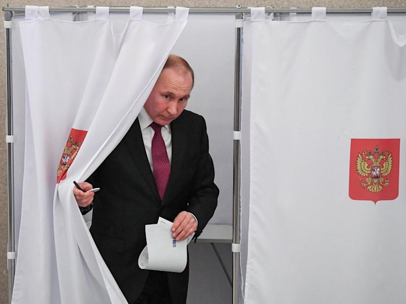 Russian President and Presidential candidate Vladimir Putin at a polling station during the presidential election in Moscow, Russia March 18, 2018.