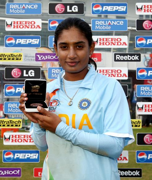 Mithali Raj of India poses with the player of the match award during the ICC Women's Twenty20 World Cup match between India and Sri Lanka at The County Ground on June 15, 2009 in Taunton, England.  (Photo by Richard Heathcote/Getty Images) *** Local Caption *** Mithali Raj