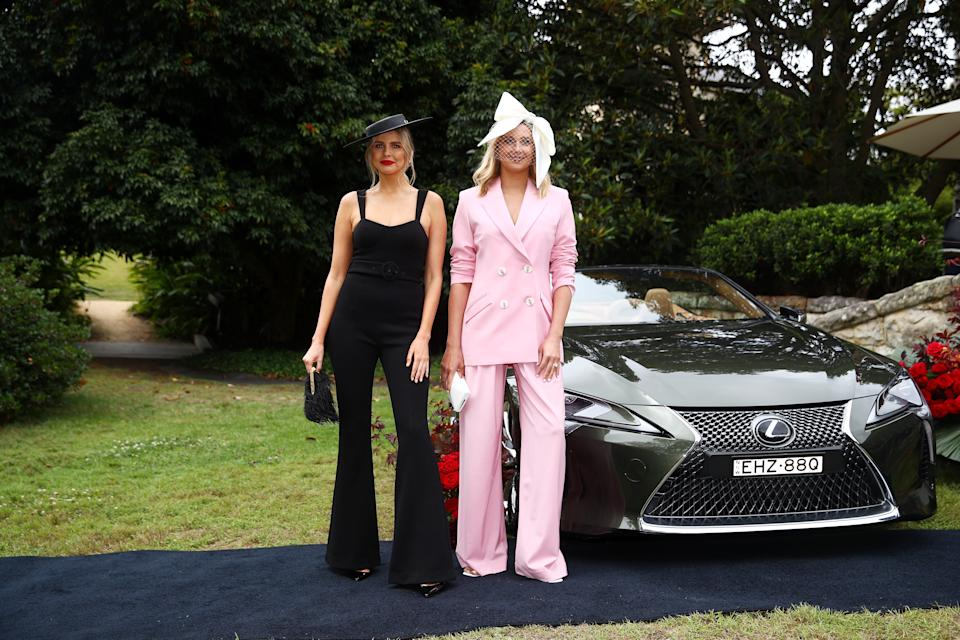 SYDNEY, AUSTRALIA - OCTOBER 27: Tegan Martin and Jasmine Stefanovic attend the 2020 Melbourne Cup Carnival Sydney Launch on October 27, 2020 in Sydney, Australia. (Photo by Don Arnold/WireImage)