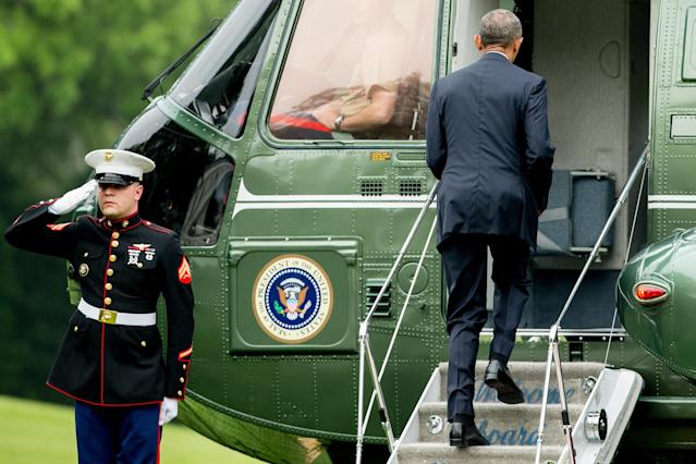 <p>President Obama boards Marine One on the South Lawn of the White House, June 16, 2016, for the short trip to Andrews Air Force Base and then on to Orlando, Fla. (AP/Andrew Harnik) </p>