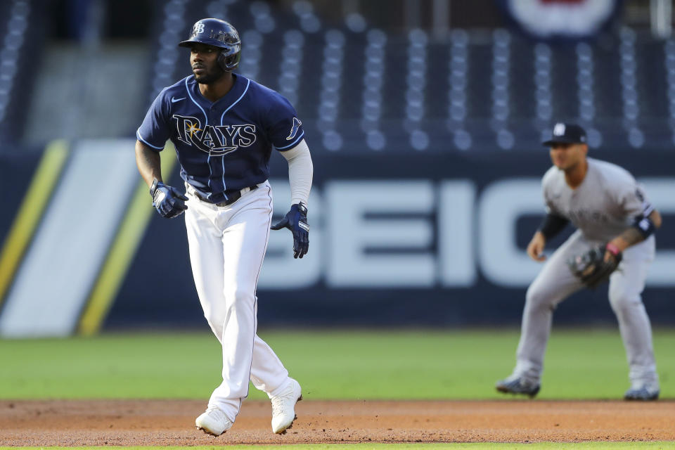 SAN DIEGO, CA - OCTOBER 09:  Randy Arozarena #56 of the Tampa Bay Rays takes a lead off first base during Game 5 of the ALDS between the New York Yankees and the Tampa Bay Rays at Petco Park on Friday, October 9, 2020 in San Diego, California. (Photo by Alex Trautwig/MLB Photos via Getty Images)