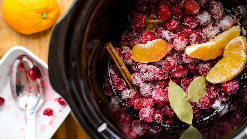 """<p><a href=""""https://www.thedailymeal.com/entertain/17-crock-pot-recipes-will-save-your-life-college?referrer=yahoo&category=beauty_food&include_utm=1&utm_medium=referral&utm_source=yahoo&utm_campaign=feed"""" rel=""""nofollow noopener"""" target=""""_blank"""" data-ylk=""""slk:Slow cooker recipes"""" class=""""link rapid-noclick-resp"""">Slow cooker recipes</a> are necessary during the busy times in our lives, and the holiday season is certainly one of those times. This slow cooker cranberry sauce calls for only five ingredients, so it won't take much effort at all.</p> <p><a href=""""https://www.thedailymeal.com/recipe/slow-cooker-cranberry-sauce?referrer=yahoo&category=beauty_food&include_utm=1&utm_medium=referral&utm_source=yahoo&utm_campaign=feed"""" rel=""""nofollow noopener"""" target=""""_blank"""" data-ylk=""""slk:For the Slow Cooker Cranberry Sauce recipe, click here."""" class=""""link rapid-noclick-resp"""">For the Slow Cooker Cranberry Sauce recipe, click here.</a></p>"""