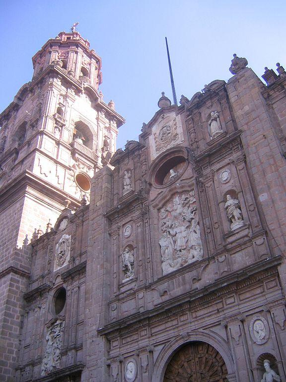 Like many buildings in downtown Morelia, Mexico, the Cathedral is built of pink stone. Its construction began in 1660.
