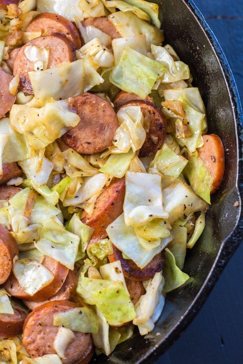 """<p>One pan, cheese, sausage, cabbage...what could be bad?</p><p>Get the recipe from <a href=""""https://www.maebells.com/keto-sausage-and-cabbage-skillet/"""" rel=""""nofollow noopener"""" target=""""_blank"""" data-ylk=""""slk:Maebells"""" class=""""link rapid-noclick-resp"""">Maebells</a>.</p>"""