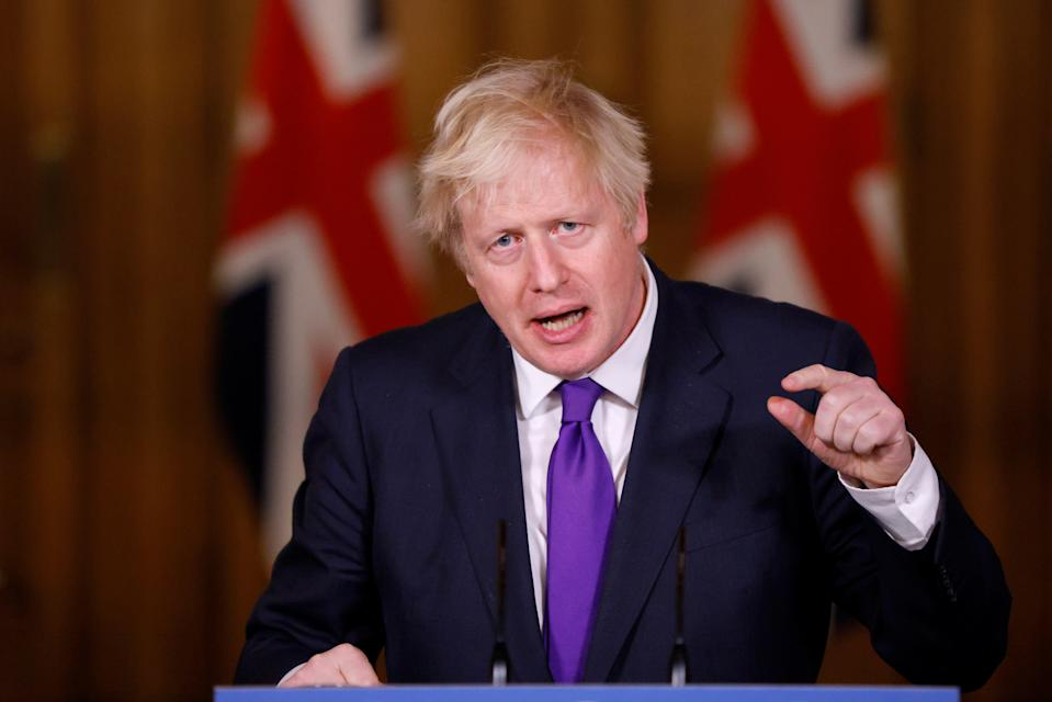Prime Minister Boris Johnson during a media briefing on coronavirus (COVID-19) in Downing Street, London. (Photo by John Sibley/PA Images via Getty Images)