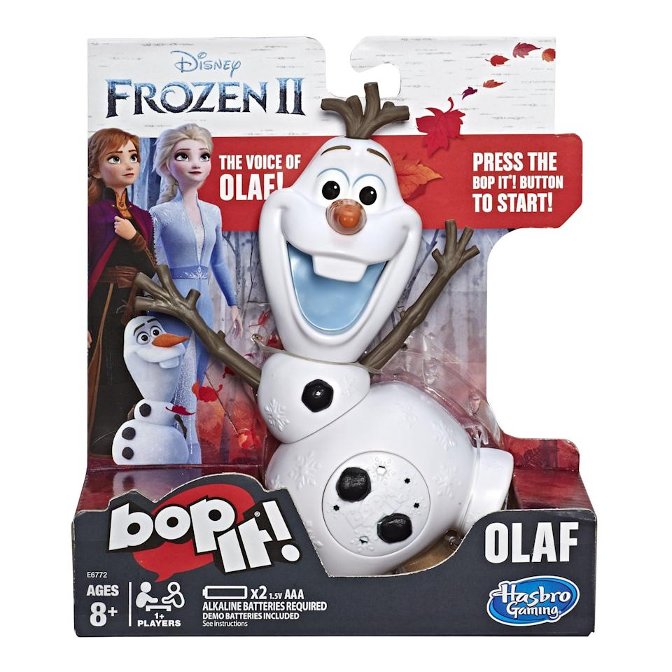 <p>It takes to to bop with this <span>Frozen 2 Olaf Bop It</span> ($15).</p>