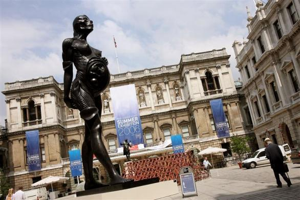 A bronze statue entitled 'The Virgin mother' by artist Damien Hirst is displayed in the courtyard of the Royal Academy of Arts in central London as part of its 238th Summer Exhibition June 7, 2006.