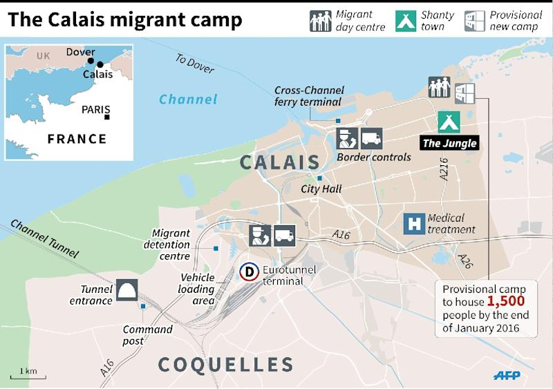 Map of Calais showing the migrant camps on the edge of the city and key locations, including the Channel Tunnel boarding point. 135 x 96 mm (AFP Photo/Laurence Saubadu)