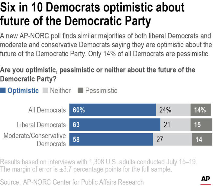 A new AP-NORC poll finds similar majorities of both liberal Democrats and moderate and conservative Democrats saying they are optimistic about the future of the Democratic Party. Only 14% of all Democrats are pessimistic.
