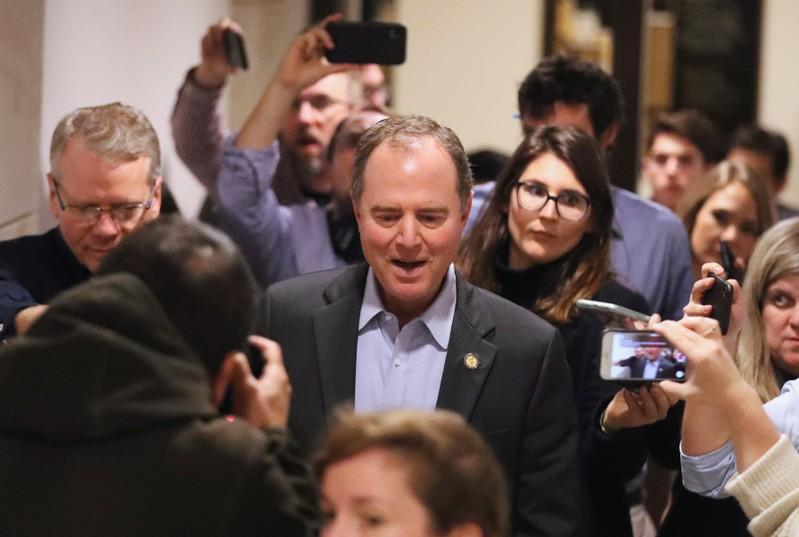 House Intelligence Committee Chairman Rep. Adam Schiff (D-CA) speaks to members of the press as he leaves after the impeachment inquiry against U.S. President Donald Trump, in Washington D.C.