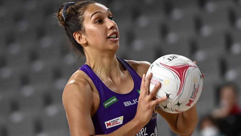 Jemma Mi Mi, pictured here in action for the Queensland Firebirds.