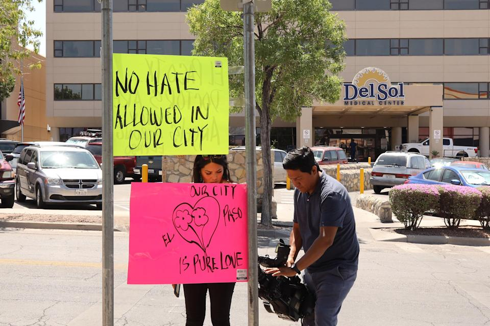 """The Del Sol Medical Center in El Paso where many shooting victims were sent. The hospital had just undergone a """"training"""" to prep for mass shootings. (Photo by Liu Liwei/Xinhua via Getty)"""