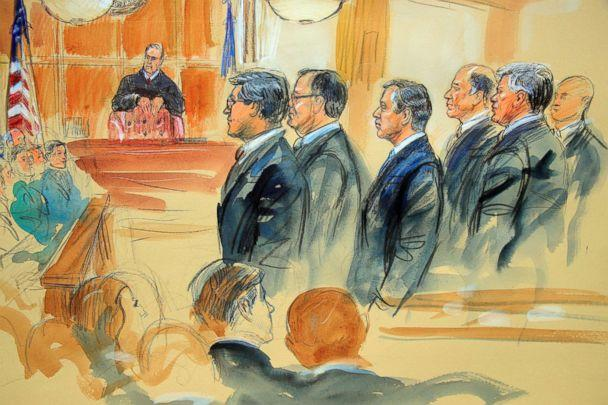 PHOTO: This courtroom sketch depicts Paul Manafort, fourth from right, standing with his lawyers in front of U.S. district Judge T.S Ellis III, and the jury during the jury selection of his trial in Alexandria, Va., July 31, 2018. (Dana Verkouteren via AP)