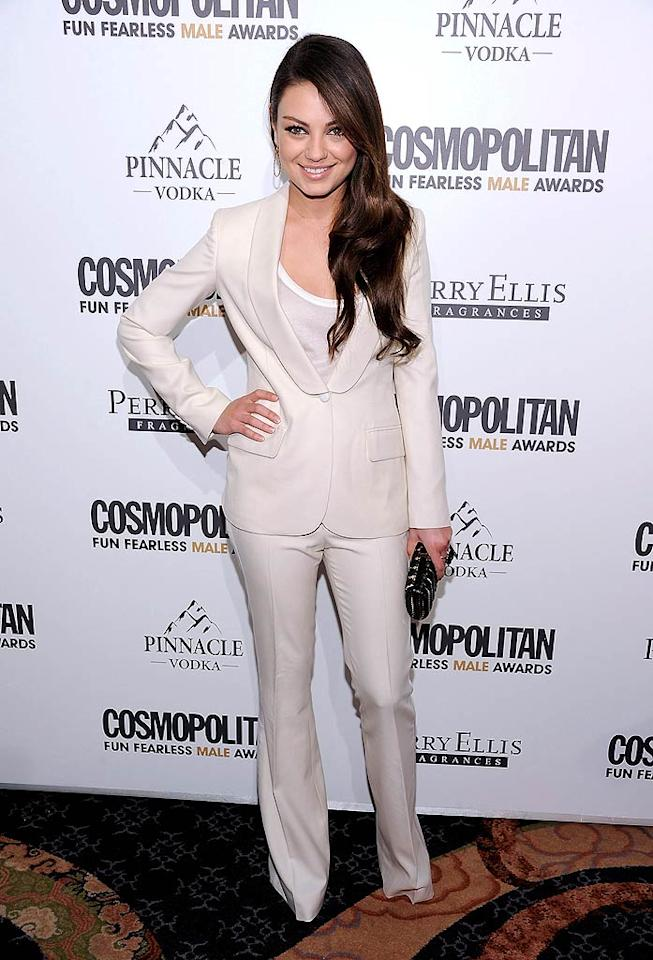 """Although she was feeling a little under the weather, """"Black Swan"""" beauty Mila Kunis -- wearing a sharp Boca Negra suit -- still made an appearance at the bash, where she was named the mag's honorary Fun Fearless Female of the Year. Dimitrios Kambouris/<a href=""""http://www.wireimage.com"""" target=""""new"""">WireImage.com</a> - March 7, 2011"""