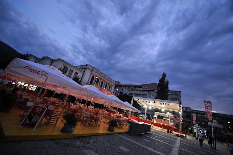 This picture taken on August 14, 2014 shows the main festival square in Sarajevo, on the eve of the grand opening ceremony of the Sarajevo Film Festival