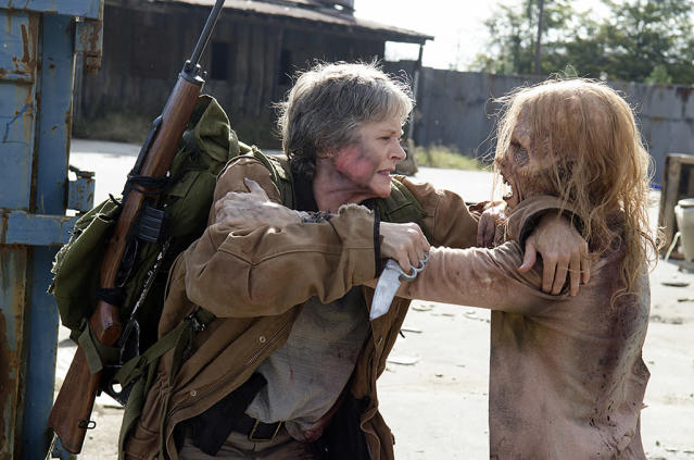 <p>In the show, Carol has evolved to be a ruthless and pragmatic badass, who killed people in the prison because she thought it was for the greater good. In the comics, though, she is completely dependent on others. After a devastating breakup with Tyreese in the prison, she tries to start up a threesome with Rick and Lori. When they turn her down, she essentially commits suicide by giving herself up to walkers.<br><br>(Photo Credit: Gene Page/AMC) </p>