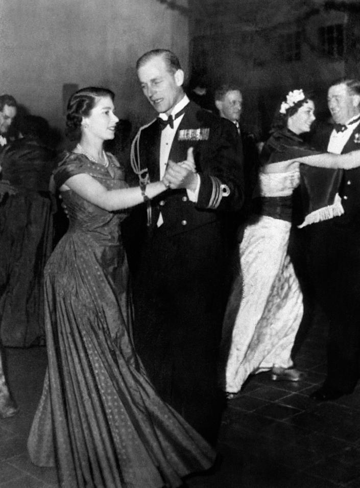 queen and prince philip dance  1950