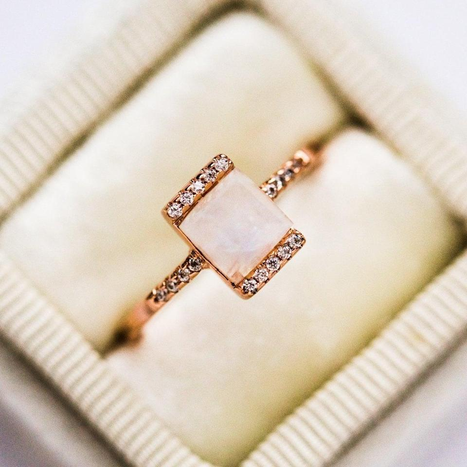"""<p>The style of the <a href=""""https://www.popsugar.com/buy/Vero-Ring-Rose-Gold-531208?p_name=Vero%20Ring%20in%20Rose%20Gold&retailer=localeclectic.com&pid=531208&price=95&evar1=fab%3Aus&evar9=44555978&evar98=https%3A%2F%2Fwww.popsugar.com%2Fphoto-gallery%2F44555978%2Fimage%2F47011757%2FVero-Ring-in-Rose-Gold&list1=wedding%2Cjewelry%2Crose%20gold%2Cengagement%20rings&prop13=api&pdata=1"""" rel=""""nofollow noopener"""" class=""""link rapid-noclick-resp"""" target=""""_blank"""" data-ylk=""""slk:Vero Ring in Rose Gold"""">Vero Ring in Rose Gold</a> ($95) is so modern. </p>"""