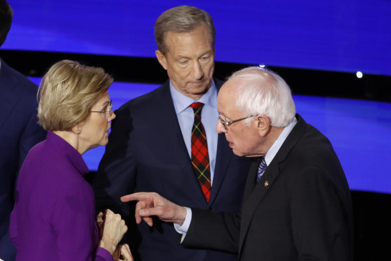 From left, Elizabeth Warren, Tom Steyer and Bernie Sanders