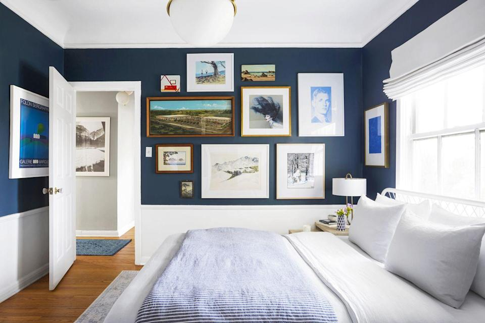 <p>Here's a tip on laying it out perfectly: Start by gathering the art on the floor to find the perfect arrangement, says HGTV's Nicole Curtis. Then snap a photo with your smartphone. Trace each frame onto a piece of paper and cut it out, using a level and painter's tape to test the cutouts on the wall before you hang. </p>