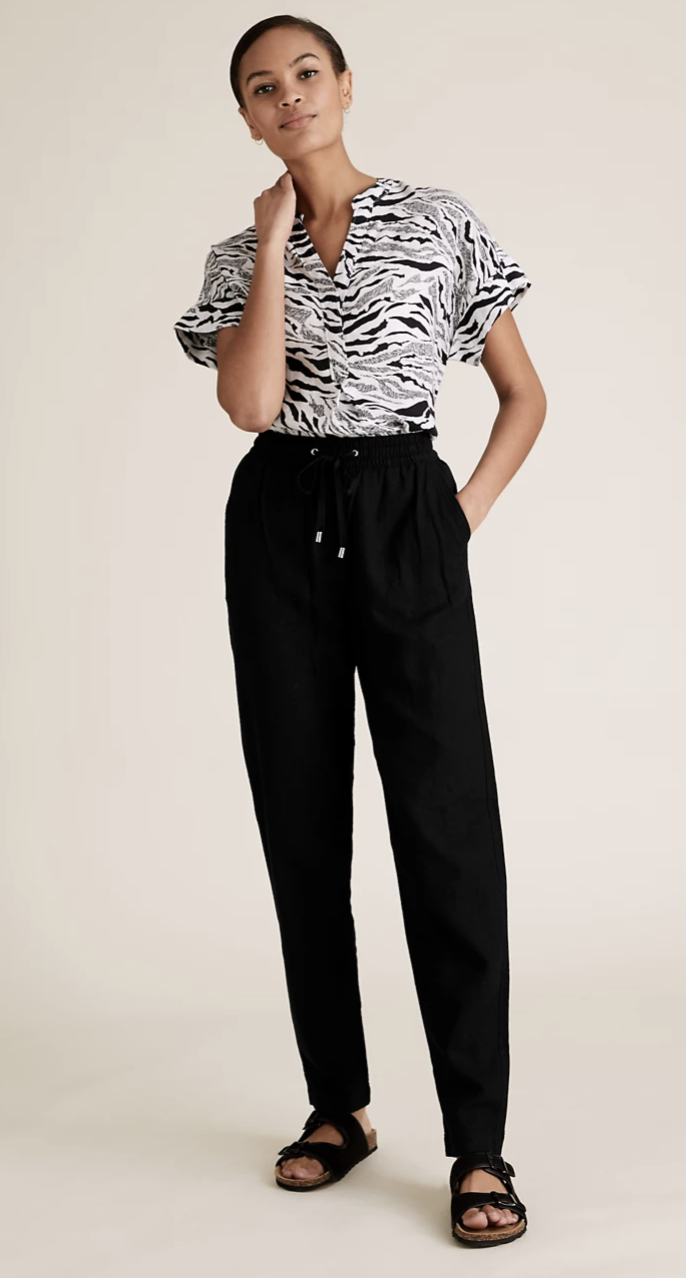 Linen Tapered Ankle Grazer Trousers, $42.50,