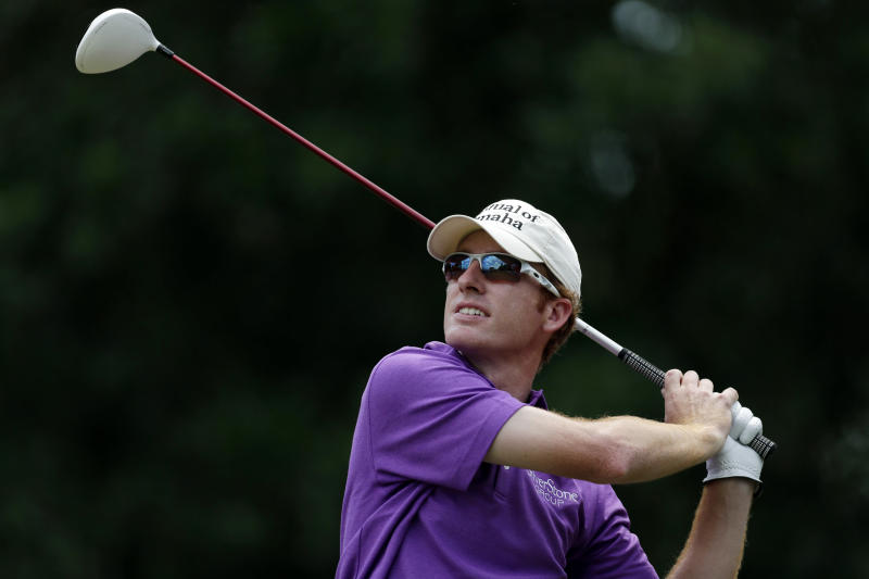 Roberto Castro hits from the ninth tee during the first round of The Players championship golf tournament at TPC Sawgrass, Thursday, May 9, 2013, in Ponte Vedra Beach, Fla. Castro finished at 9-under-par 63, tying the course record. (AP Photo/Chris O'Meara)