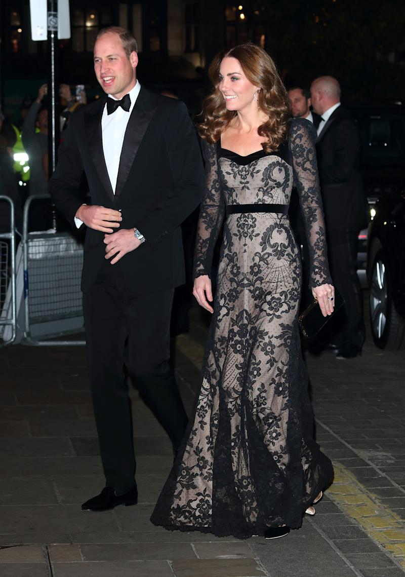 LONDON, UNITED KINGDOM - 2019/11/18: Duke and Duchess of Cambridge attend the Royal Variety Performance at the London Palladium. (Photo by Keith Mayhew/SOPA Images/LightRocket via Getty Images)
